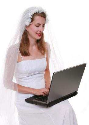 bride with laptop